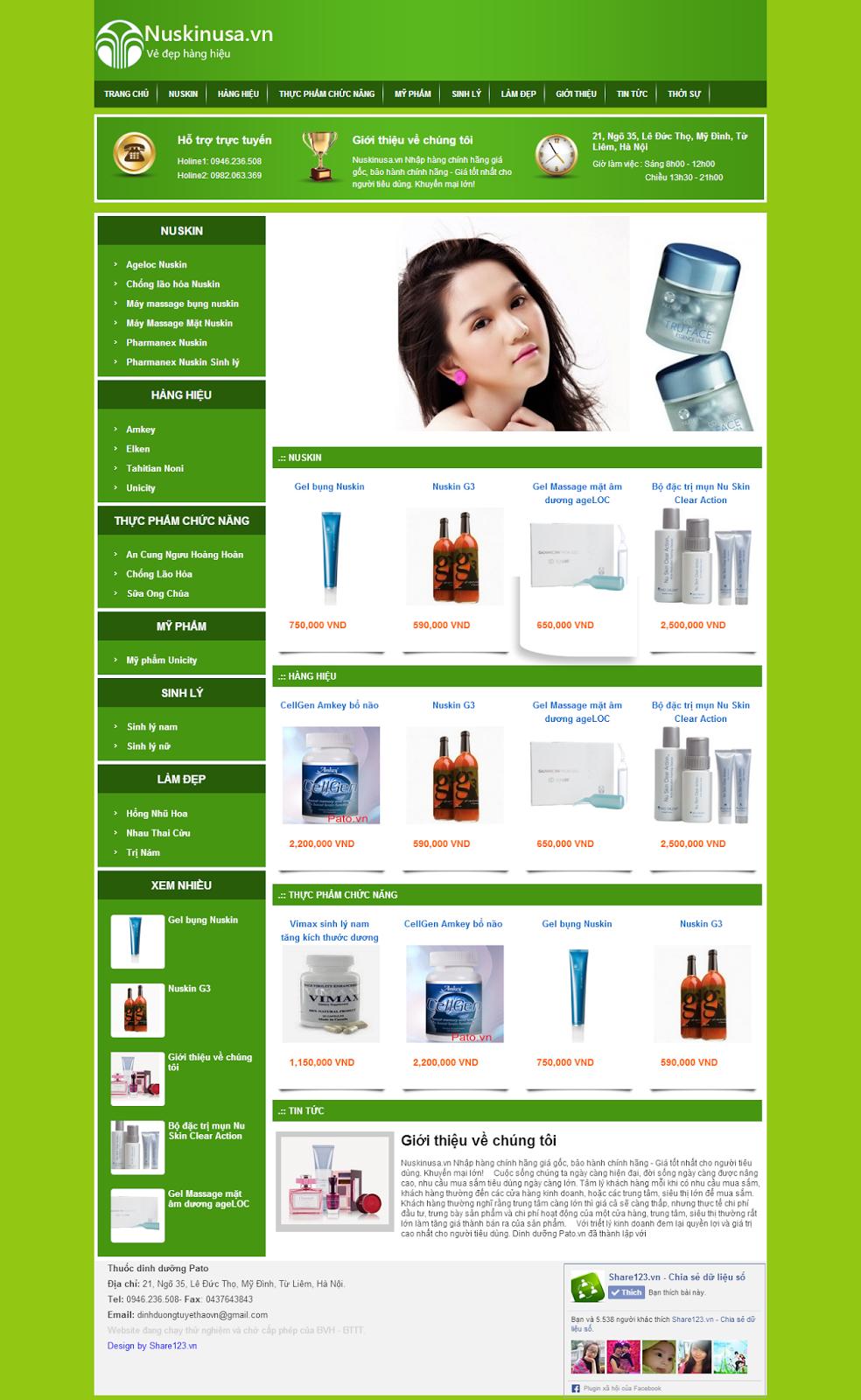Nuskin - Mẫu blog bán hàng mỹ phẩm đẹp