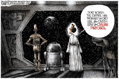 Don't worry, the Empire has promised to only use the death star for civilian purposes.