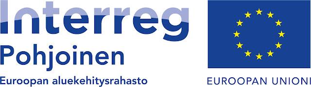 Hankkeen rahoittajan logo, jossa lukee Interreg, Pohjoinen, Euroopan aluekehitysrahasto. Sivussa Euroopan Unionin lippu.