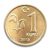 2013 yılında basılmış 1 kuruşluk madeni para