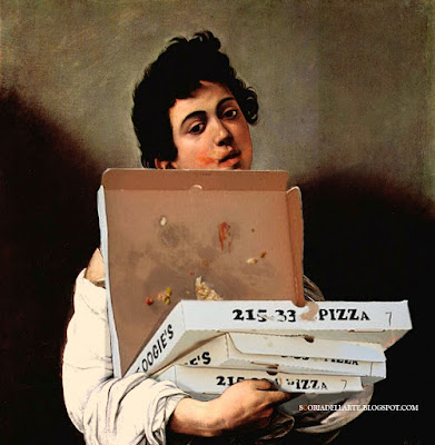 Pizza d'autore -Caravaggio-Fotomontaggi satirici di dipinti classici