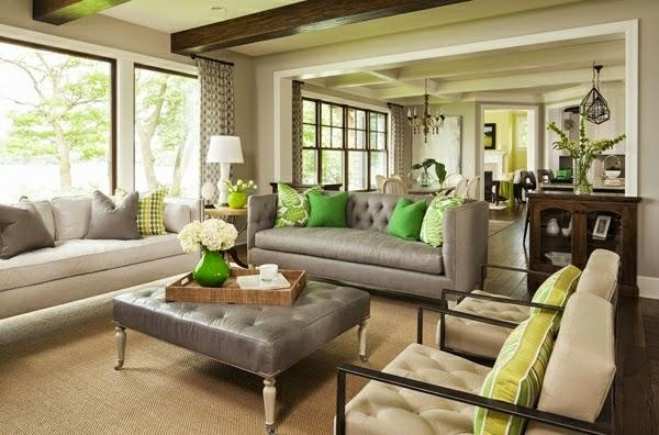 10 fotos de salas en verde y gris salas con estilo for Braunes ecksofa