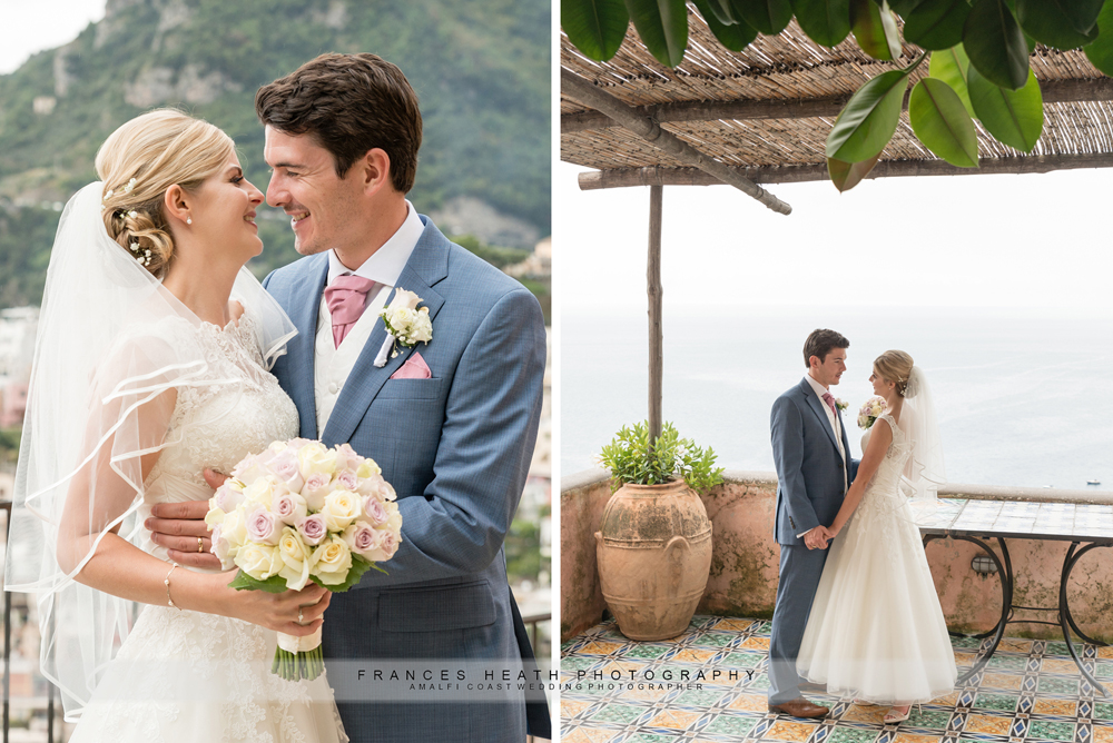 Bride and groom in Positano