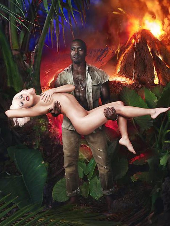 Lady Gaga naked in the arms of Kanye West