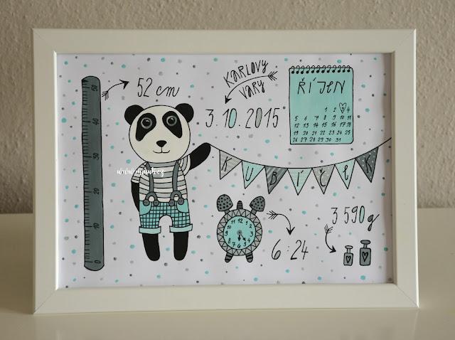 obrázek pro miminko panda mint