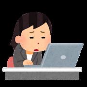 会社でいやいや働く人のイラスト(女性)