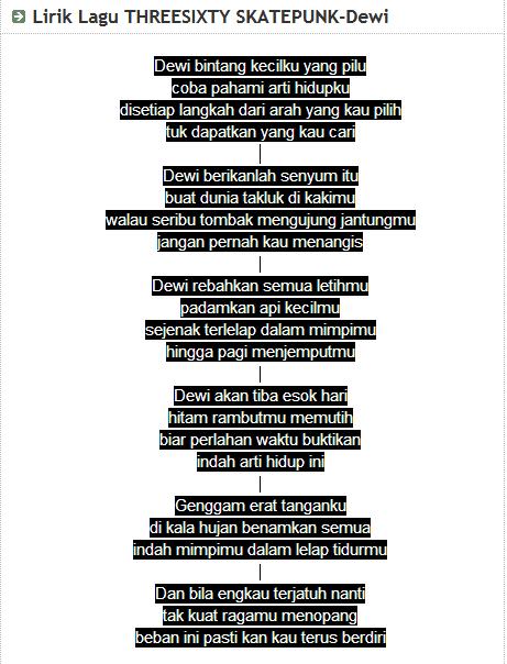 Lagu Threesixty Dewi : threesixty, Lirik, School, Dear-:, Threesixty, Skatepunk