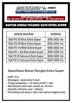 gambar daftar harga folding gateextra super bandung murah
