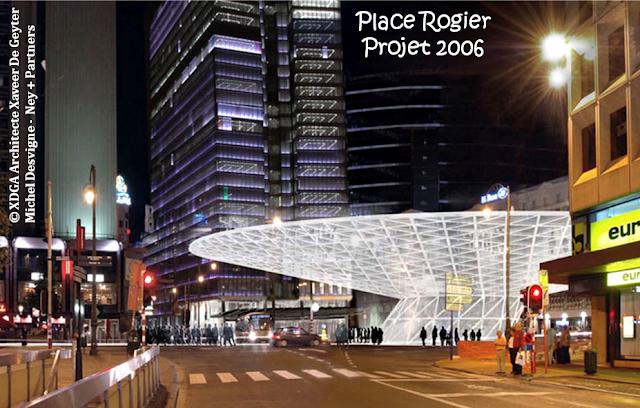 Place Rogier - Perspectives d'avenir - Projet initial de l'auvent surplombant l'Atrium  (Lauréat du concours européen d'architectes 2006) - Bruxelles-Bruxellons