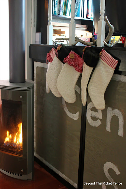 stockings, chimney, fireplace, Christmas ideas, sewing, upcycle, http://bec4-beyondthepicketfence.blogspot.com/2015/12/12-days-of-christmas-day-10-how-to.html