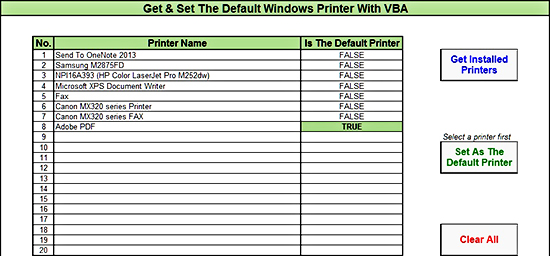 Get & Set The Default Windows Printer With VBA