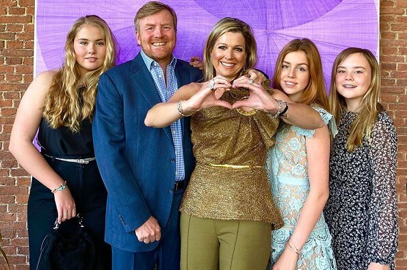 Queen Maxima in Claes Iversen top, Princess Amalia in Self Portrait one-shoulder jumpsuit. Princess Alexia in Self Portrait  lace dress