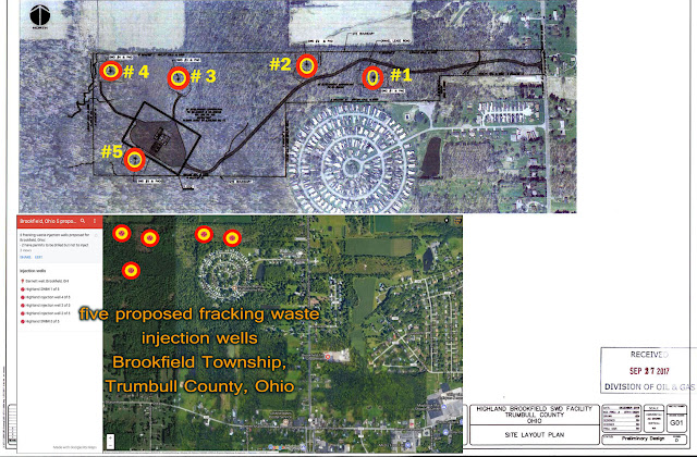 mao of Five proposed toxic fracking waste injection wells planned to be sited way too near family homes, businesses, and government buildings of Brookfield, Ohio