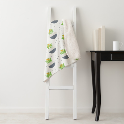 Potted Succulent Kalanchoe Pattern Sherpa Blanket from Zazzle