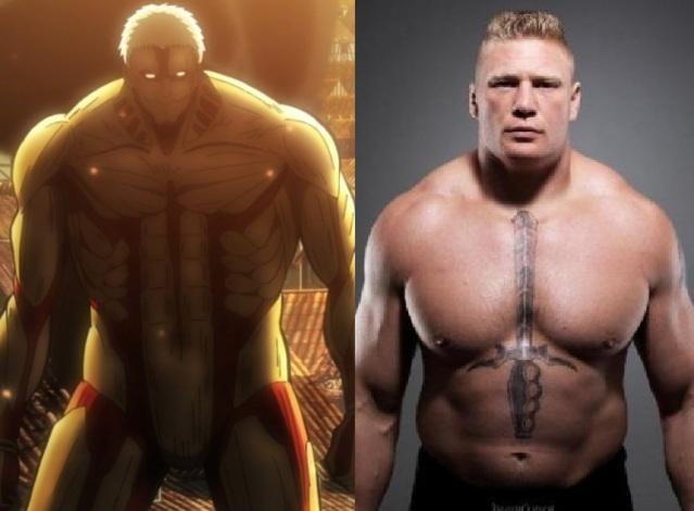 Z lewej opancerzony tytan, zaś z prawej sportowiec Brock Lesnar