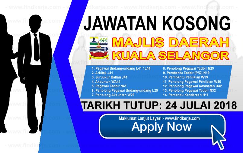 Jawatan Kerja Kosong MDKS - Majlis Daerah Kuala Selangor logo www.findkerja.com www.ohjob.info julai 2018
