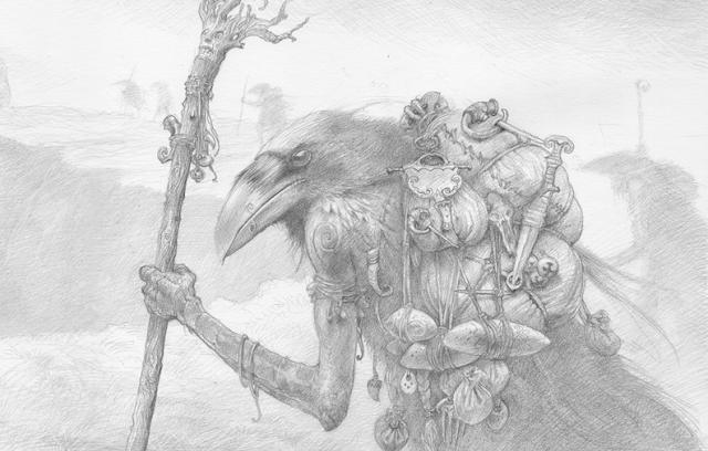 John Howe raven design sketch