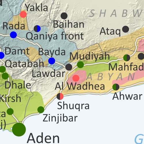 Map of what's happening in Yemen as of May 2020, including territorial control for the unrecognized Houthi government, president-in-exile Hadi and his allies in the Saudi-led coalition, the UAE-backed southern separatist Southern Transitional Council (STC), and Al Qaeda in the Arabian Peninsula (AQAP). Includes recent locations of fighting and other events, including Hadibu, al-Labanat, al-Khanjar, Balhaf, Jufra base, and more.