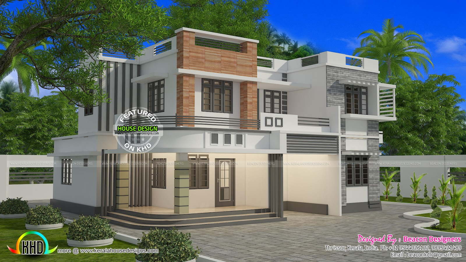 1821 sq ft box type flat roof house kerala home design for Types house designs