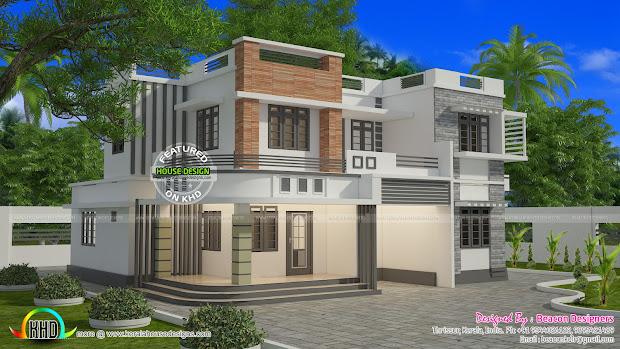 1821 Sq-ft Box Type Flat Roof House - Kerala Home Design