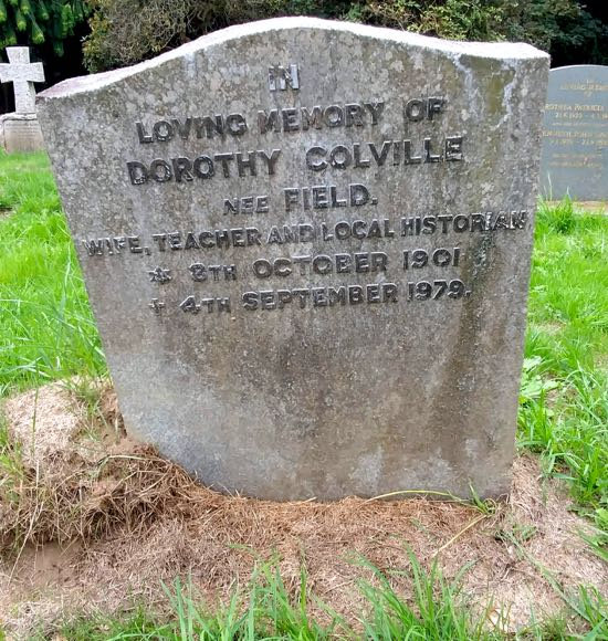 Dorothy Colville's own tombstone in the new burial ground at St Mary's North Mymms Image by the North Mymms History Project, released under Creative Commons BY-NC-SA 4.0