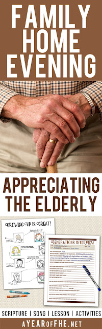 A Year of FHE // A free Family Home Evening all about appreciating the elderly. Your entire family will love the lesson and activities that go with it! Includes scripture, song, lesson and a downloadable coloring sheet and interview sheet. Just PRINT, CLICK, and TEACH!!! #lds #grandparents #elderly