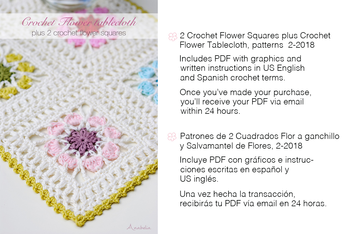 Anabelia craft design: 2 Crochet Flower Squares plus Flowers ...