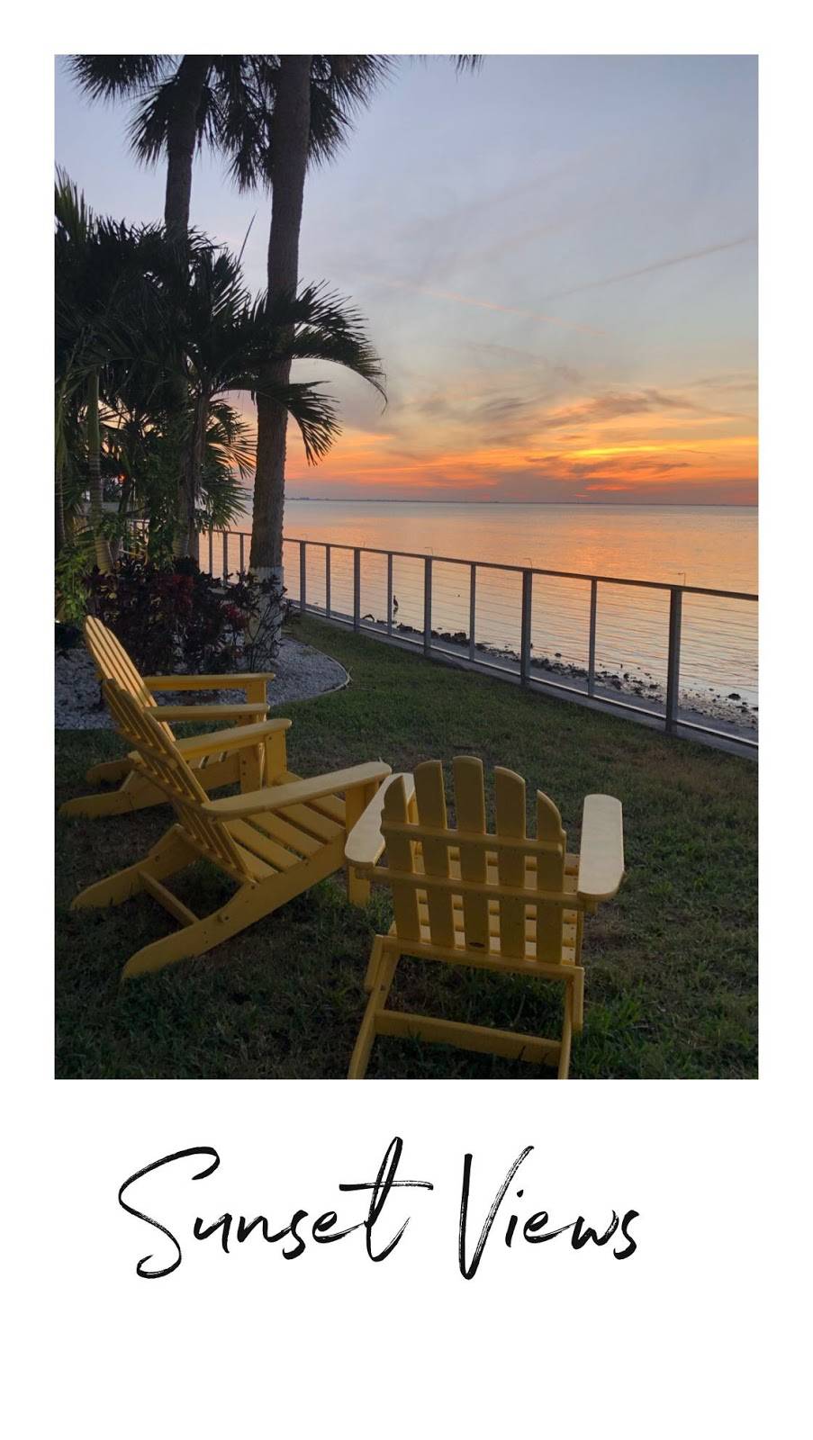 a photo of the Florida sunset. At the Godfrey Hotel & Cabanas in Tampa, Florida. There are bright yellow chairs facing the waterfront view.