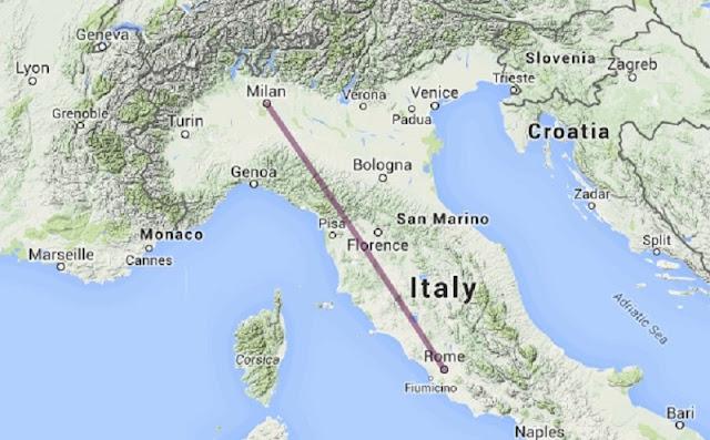 Mapa da viagem de Roma para Milão