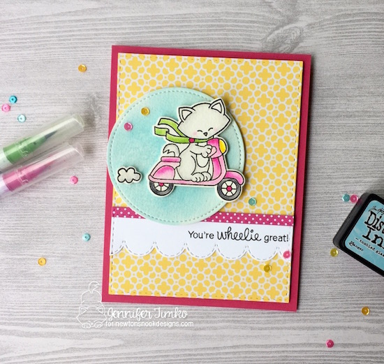 You're Wheelie Great - Cat on Scooter card by Jennifer Timko | Newton Scoots By Stamp Set by Newton's Nook Designs #newtonsnook