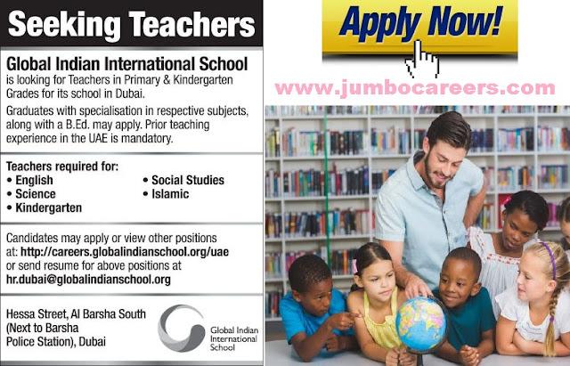 Teachers Required for Indian School at Dubai - Urgent Job