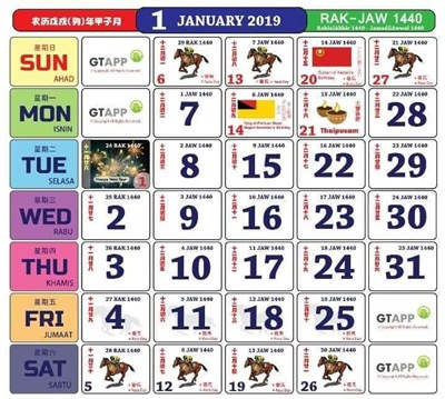 kalendar kuda 2019 cuti sekolah