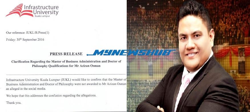 UKM dan IUKL nafi berikan Phd dengan Azizan Osman