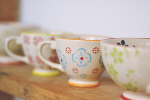 Pretty painted teacups