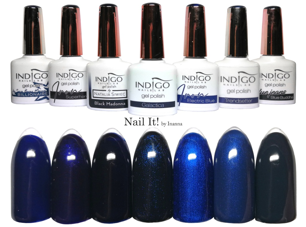 COMPARISON - Indigo Nails dark blue gel polishes (Billionaire, Superhero, Black Madonna, Galactica, Electric Blue, Trendsetter, Blue Buddha)