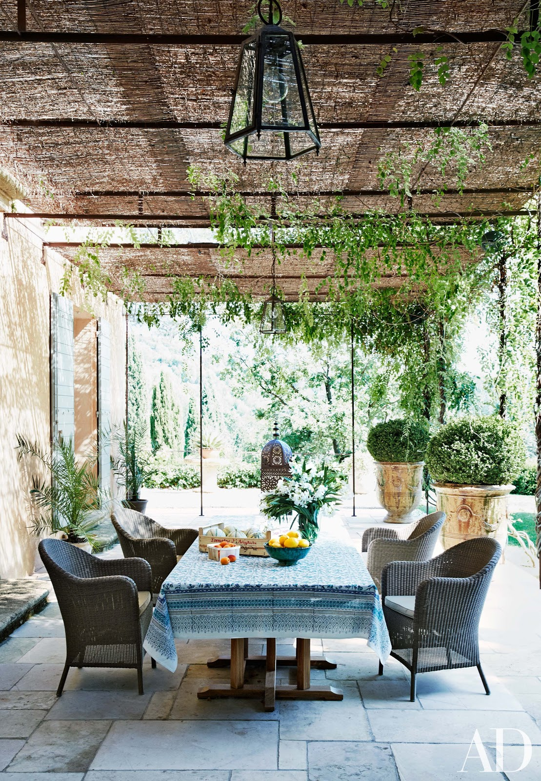 Gorgeous outdoor terrace in French Country Home in Provence at estate of Frederic Fekkai seen on Hello Lovely Studio