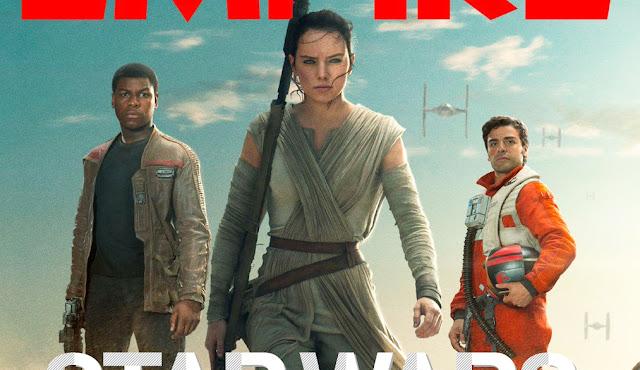 Na imagem: Recorte da capa da revista Empire mostrando Rey (no centro), Finn (esquerda) e Poe (direita)