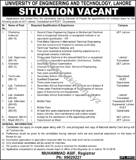 University of Engineering and Technology Lahore Jobs 2018 Advertisement