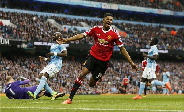 marcus rashford buteur pour United dans le derby contre Manchester City