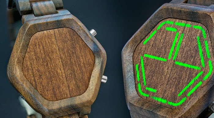 Nightvision Wood Green-LED Watch
