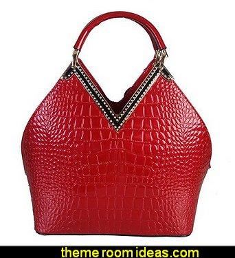 Animal Print Woman Handbag With Gold Metal and Crystal Décor