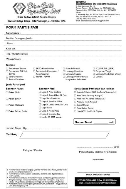 Form Partisipasi Pekalongan Batik Week 2016 - Pekan Batik Nusantara 2016