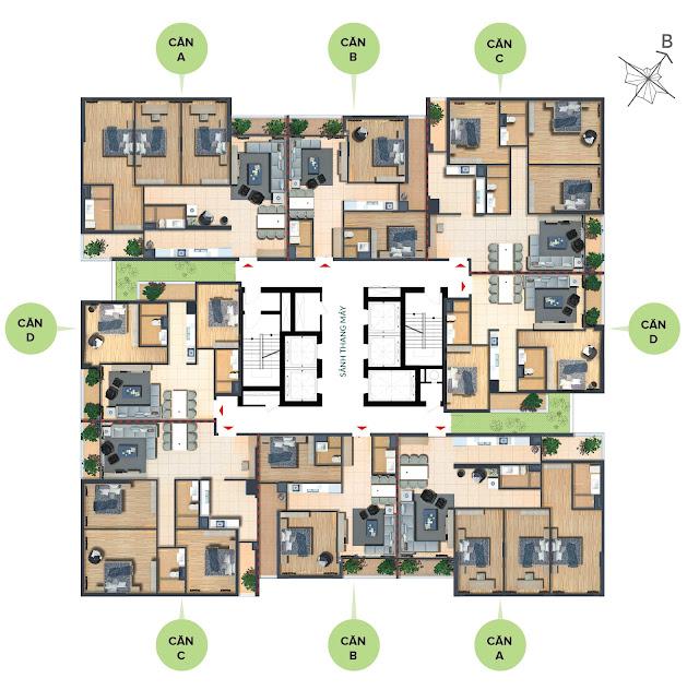 Mặt bằng tầng điển hình chung cư Bohemia Residence