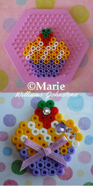 purple, yellow and white cupcakes pattern with strawberry topping