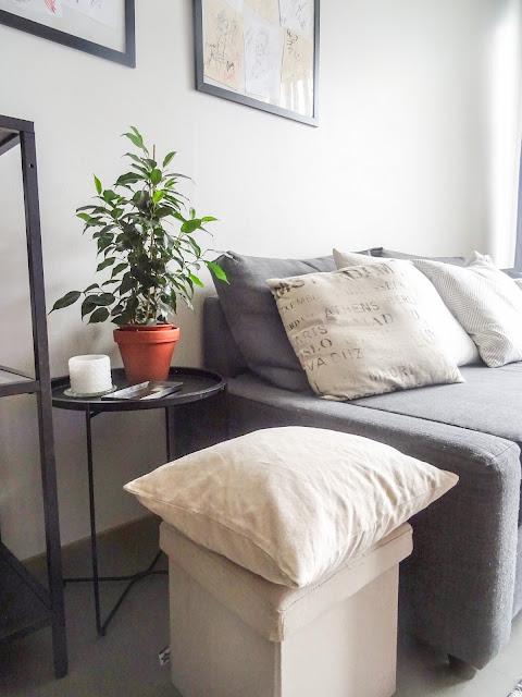 Helpompi arki, sujuvampi arki, suunnitelmallisuus, perhe arki, pyykkipäivä, kodinsisustus, Anno sivupöytä, Ikea Frihetten sohva