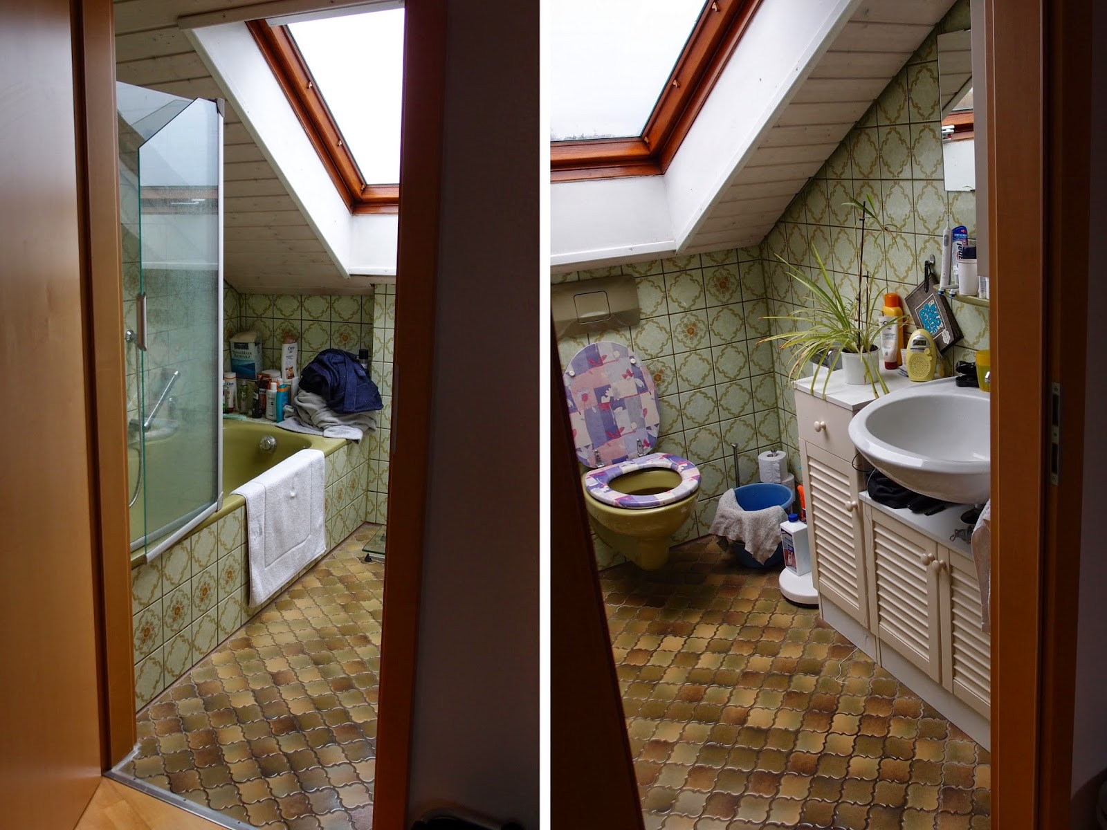 Badezimmer Fliesen Zwei Farben Originelle Deko Furs Bad Zuhause