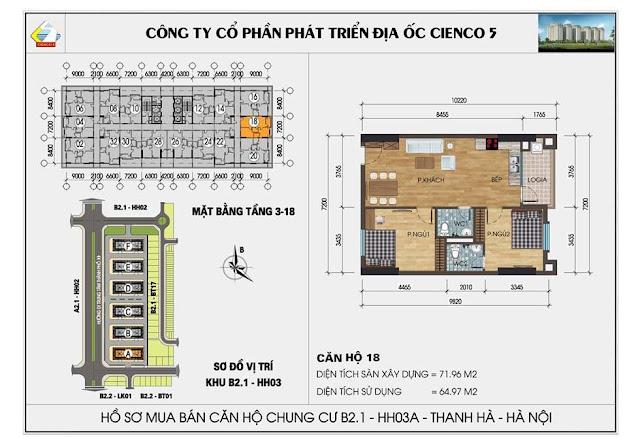 Sơ đồ thiết kế chi tiết căn hộ 18 chung cư B2.1 HH03 Thanh Hà