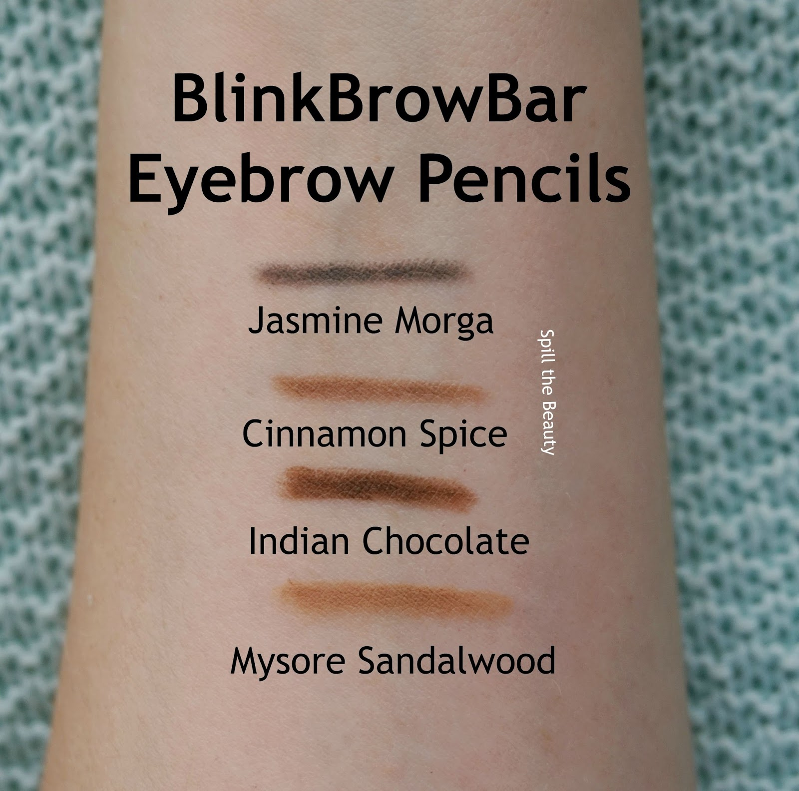 blinkbrowbar eyebrow pencil arm swatches