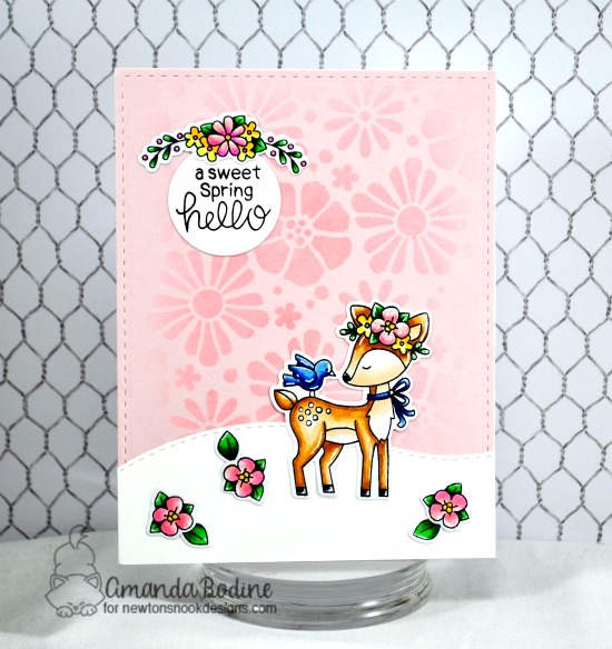 Spring deer card with flowers by Amanda Bodine | Woodland Spring Stamp Set, Land Border Die Sets and Bold Blooms Stencil by Newton's Nook Designs #newtonsnook #handmade