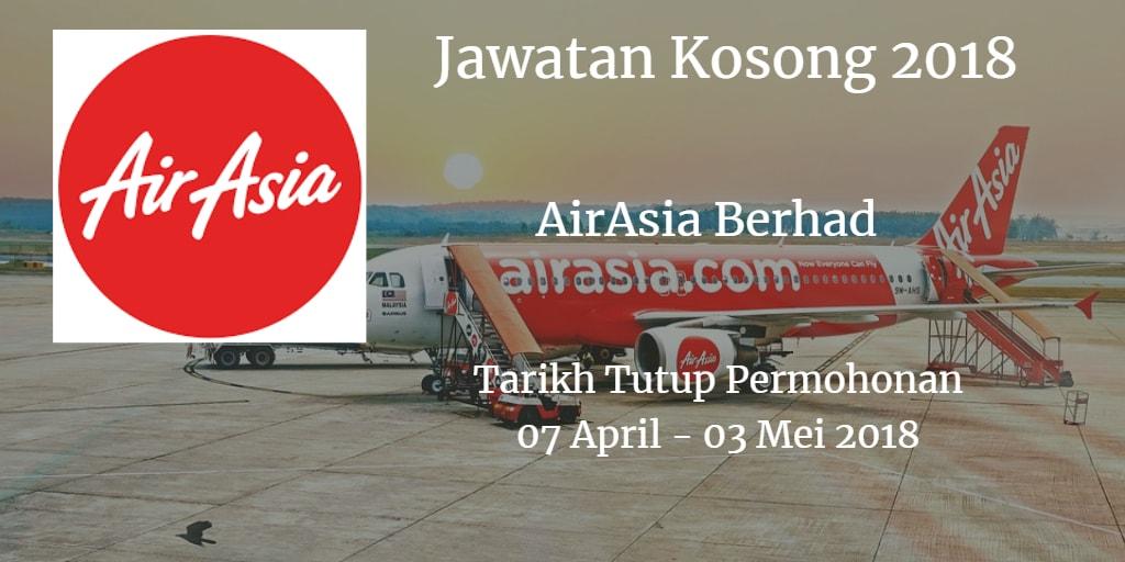 Jawatan Kosong AirAsia Berhad 07 April - 03 Mei 2018